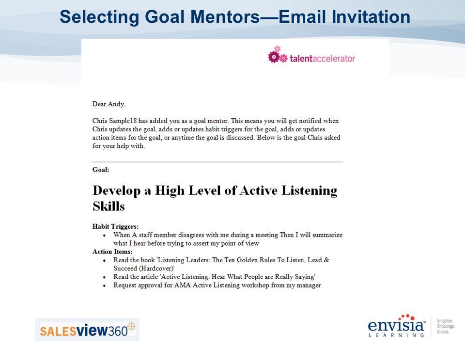 Selecting Goal MentorsEmail Invitation