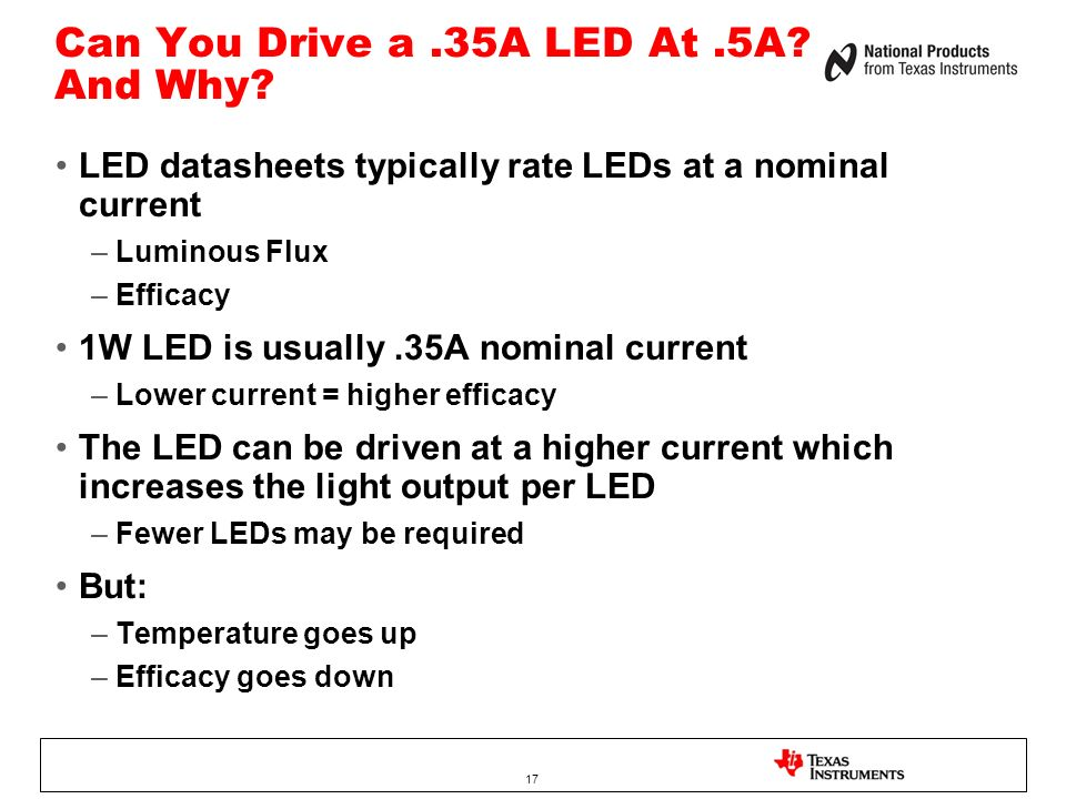Can You Drive a.35A LED At.5A.And Why.