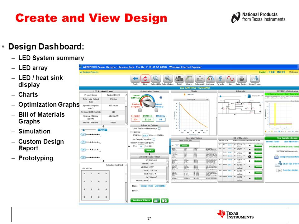 37 Create and View Design Design Dashboard: –LED System summary –LED array –LED / heat sink display –Charts –Optimization Graphs –Bill of Materials Graphs –Simulation –Custom Design Report –Prototyping