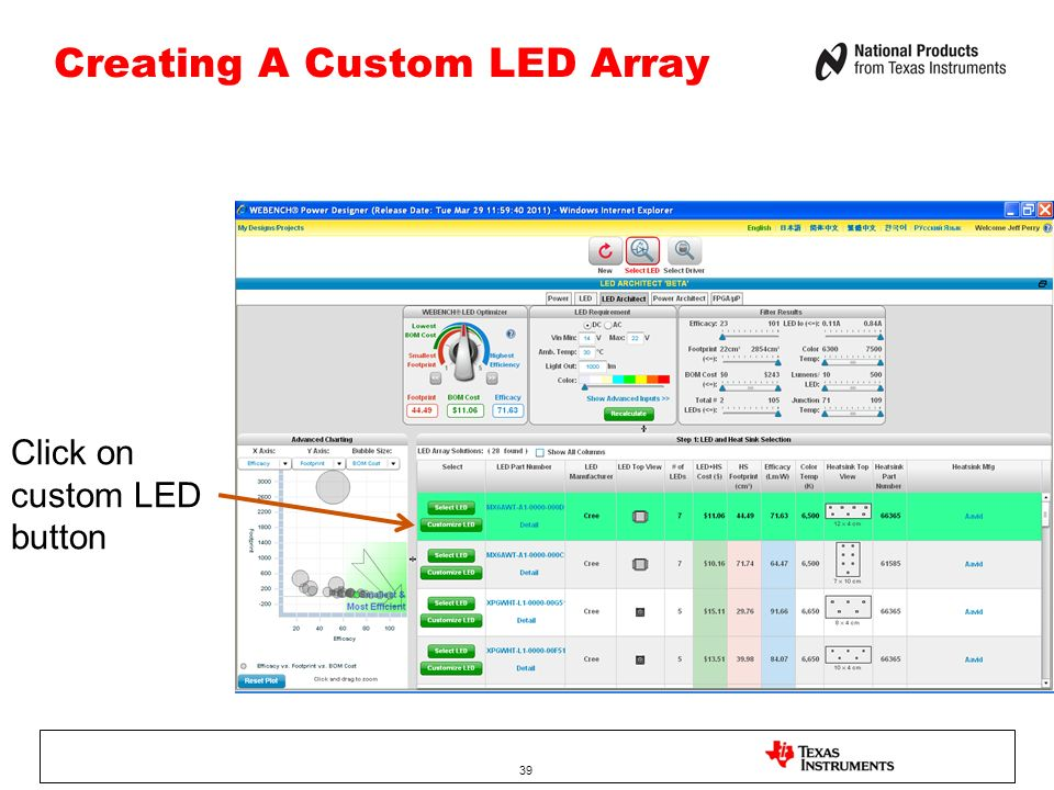 Creating A Custom LED Array 39 Click on custom LED button