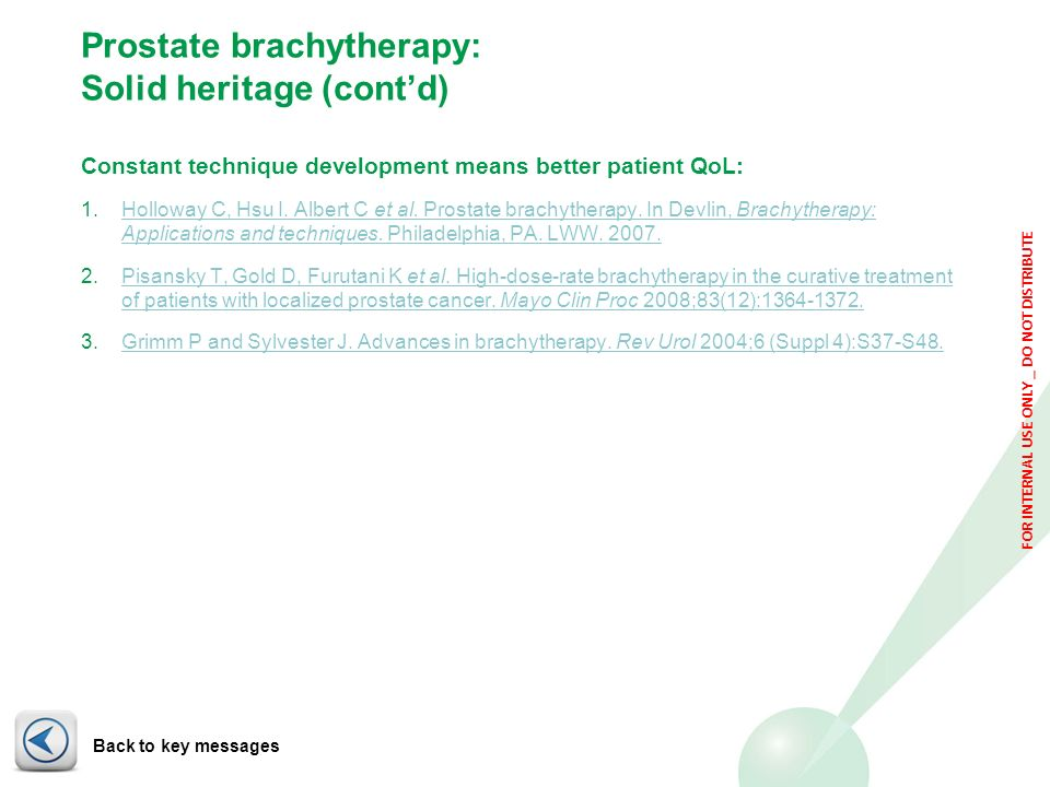 FOR INTERNAL USE ONLY _ DO NOT DISTRIBUTE Prostate brachytherapy: Solid heritage (contd) Constant technique development means better patient QoL: 1.Ho
