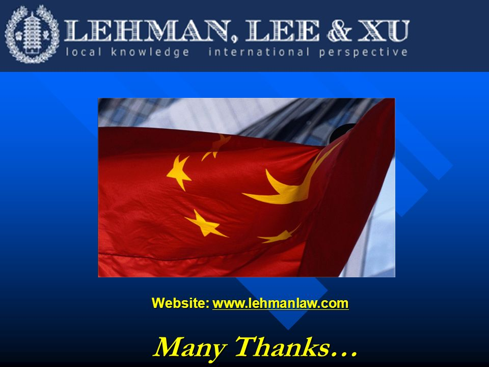 Website: www.lehmanlaw.com Many Thanks…