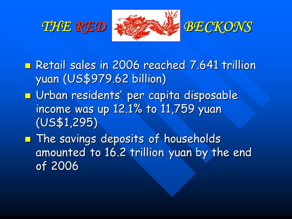 THE RED BECKONS Retail sales in 2006 reached 7.641 trillion yuan (US$979.62 billion) Retail sales in 2006 reached 7.641 trillion yuan (US$979.62 billion) Urban residents per capita disposable income was up 12.1% to 11,759 yuan (US$1,295) Urban residents per capita disposable income was up 12.1% to 11,759 yuan (US$1,295) The savings deposits of households amounted to 16.2 trillion yuan by the end of 2006 The savings deposits of households amounted to 16.2 trillion yuan by the end of 2006