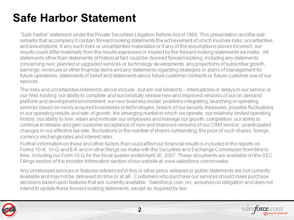 2 Safe Harbor Statement Safe harbor statement under the Private Securities Litigation Reform Act of 1995: This presentation and the oral remarks that
