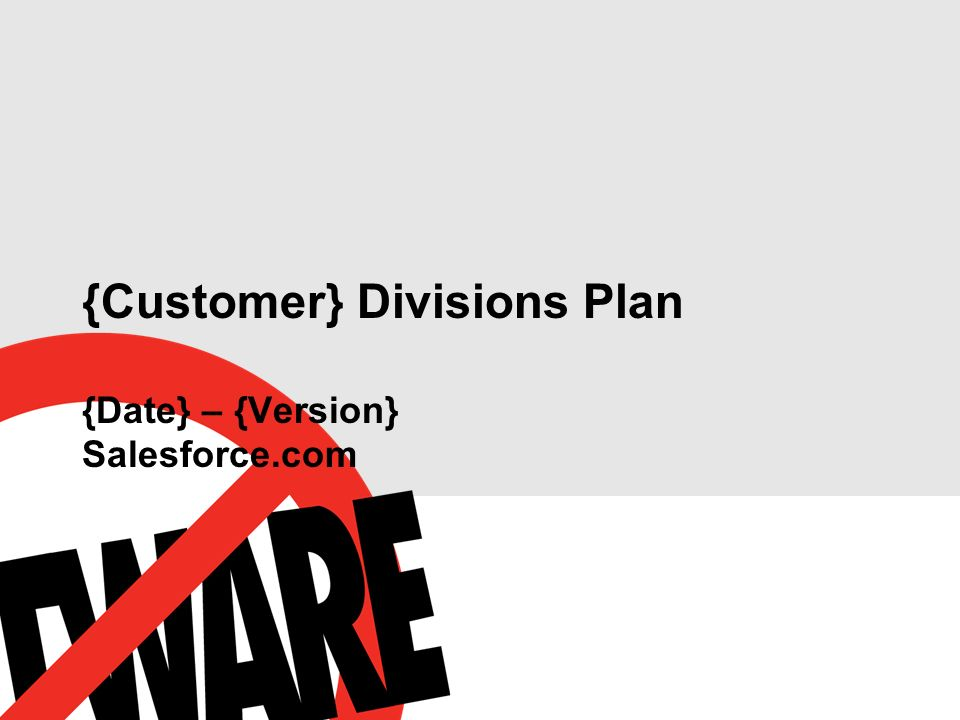 {Customer} Divisions Plan {Date} – {Version} Salesforce.com