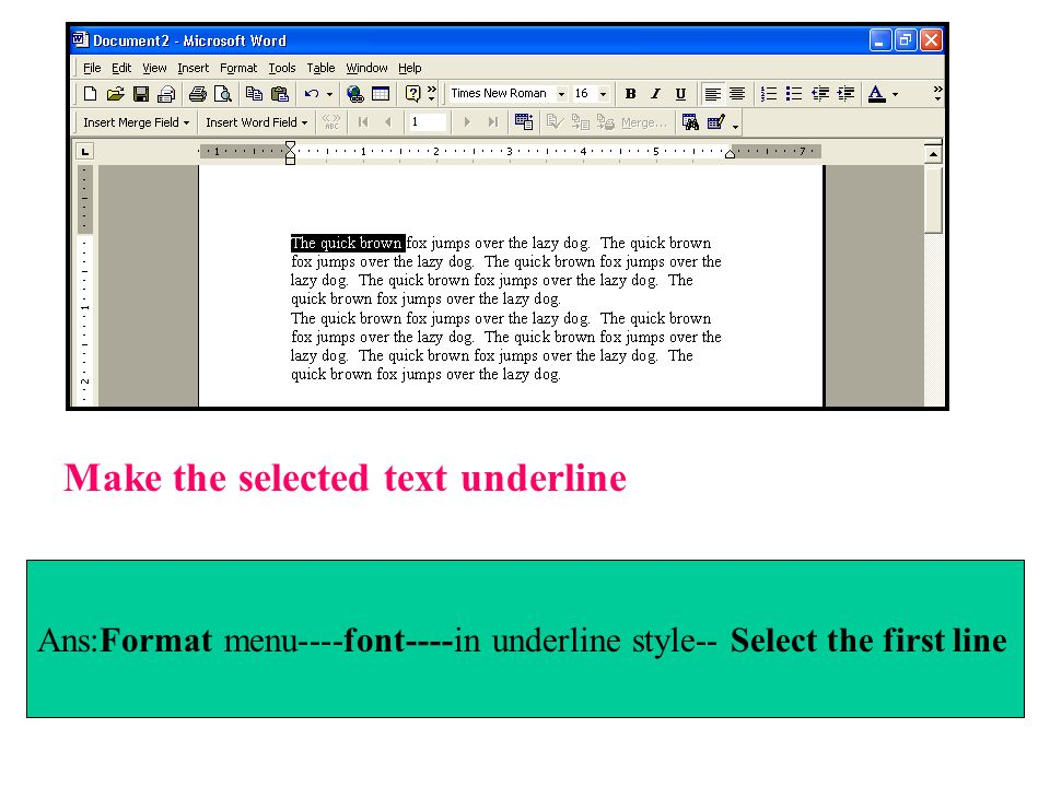 Make the selected text underline Ans:Format menu----font----in underline style-- Select the first line