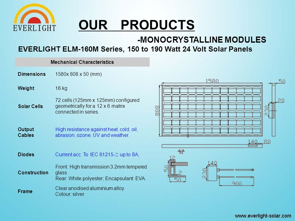 EVERLIGHT ELM-160M Series, 150 to 190 Watt 24 Volt Solar Panels Mechanical Characteristics Dimensions1580x 808 x 50 (mm) Weight16 kg Solar Cells 72 cells (125mm x 125mm) configured geometrically for a 12 x 6 matrix connected in series.