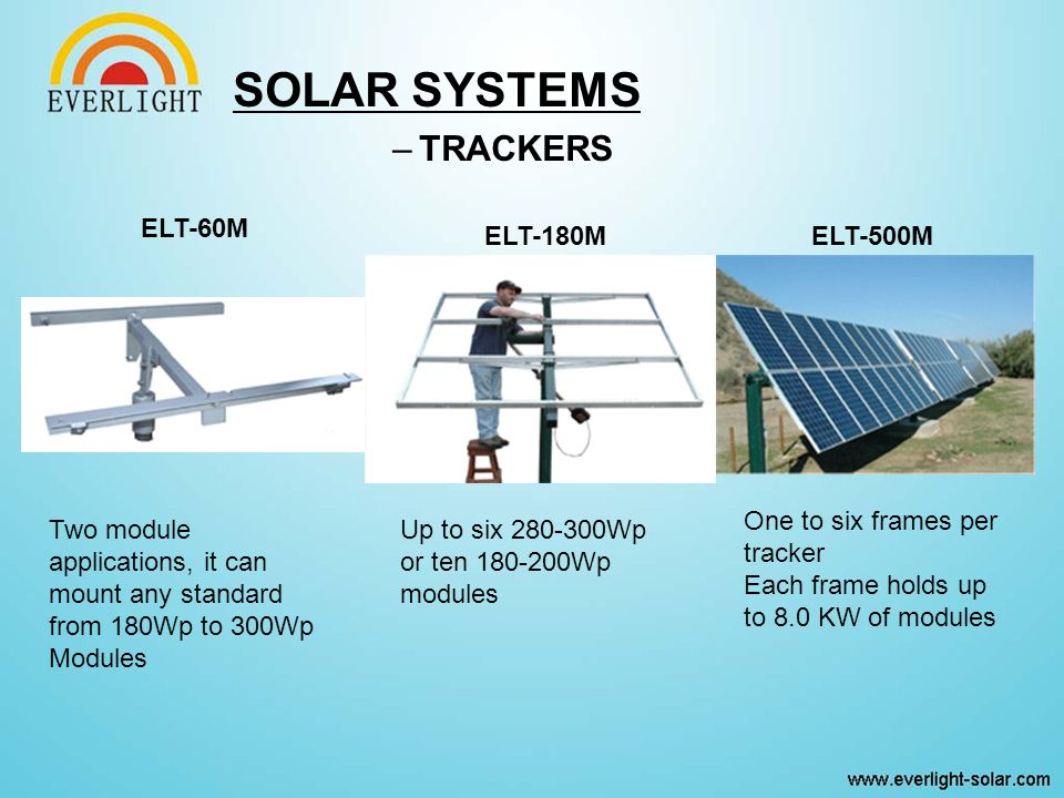 –TRACKERS ELT-60M ELT-180MELT-500M Two module applications, it can mount any standard from 180Wp to 300Wp Modules Up to six 280-300Wp or ten 180-200Wp modules One to six frames per tracker Each frame holds up to 8.0 KW of modules