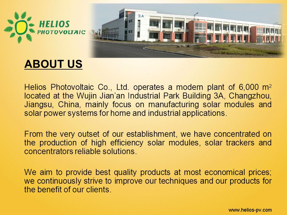 ABOUT US Helios Photovoltaic Co., Ltd.