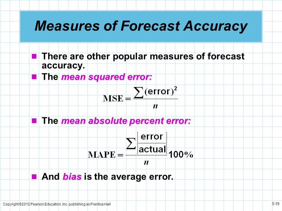 Copyright ©2012 Pearson Education, Inc. publishing as Prentice Hall 5-19 Measures of Forecast Accuracy There are other popular measures of forecast ac