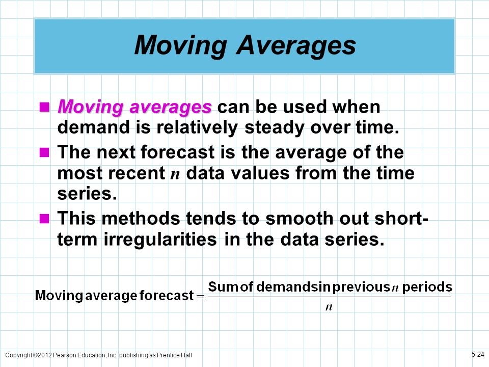 Copyright ©2012 Pearson Education, Inc. publishing as Prentice Hall 5-24 Moving Averages Moving averages Moving averages can be used when demand is re