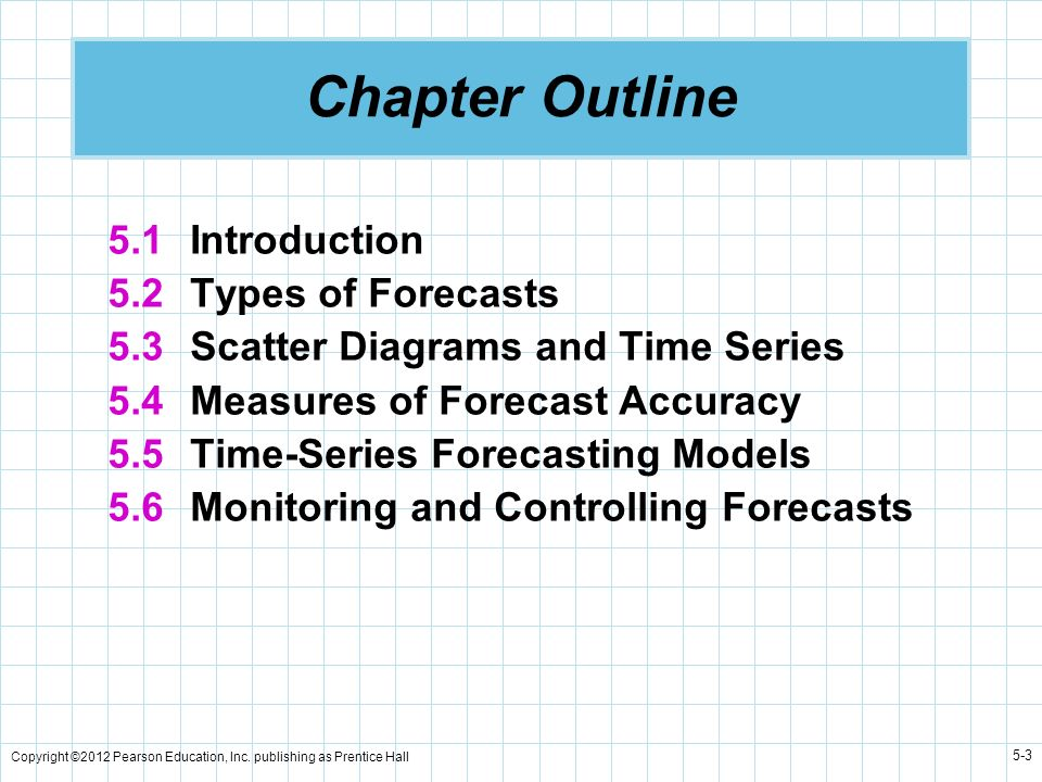 Copyright ©2012 Pearson Education, Inc. publishing as Prentice Hall 5-3 Chapter Outline 5.1 Introduction 5.2 Types of Forecasts 5.3 Scatter Diagrams a