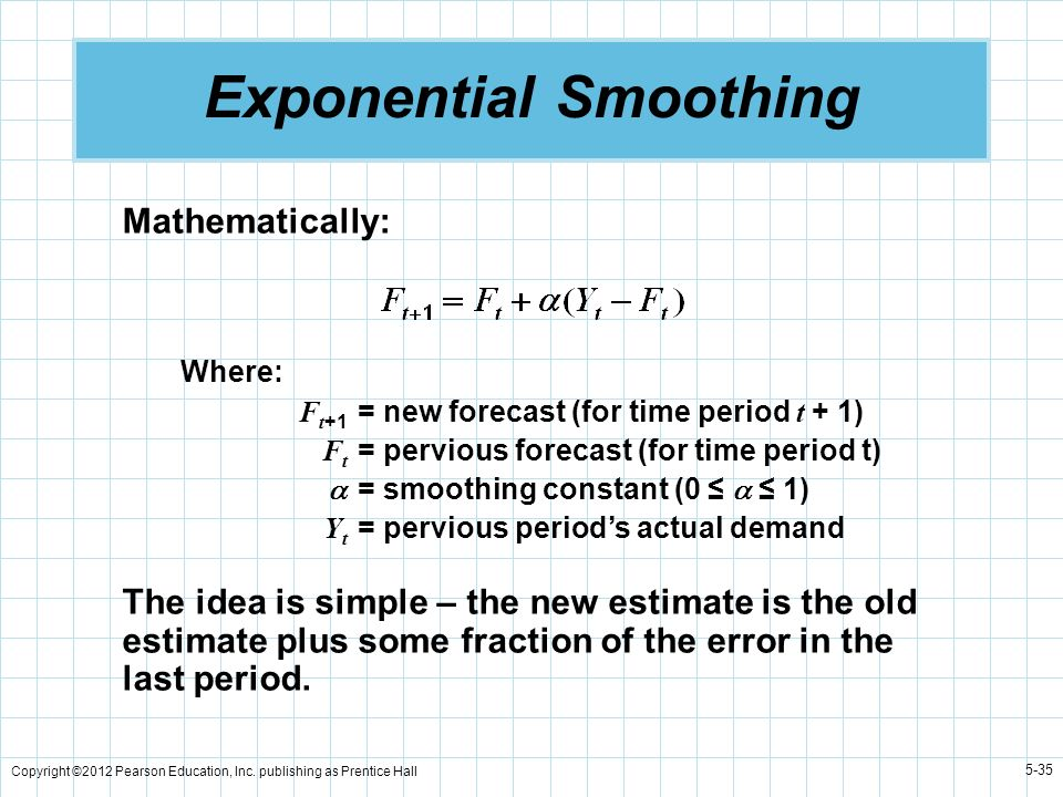 Copyright ©2012 Pearson Education, Inc. publishing as Prentice Hall 5-35 Exponential Smoothing Mathematically: Where: F t +1 = new forecast (for time