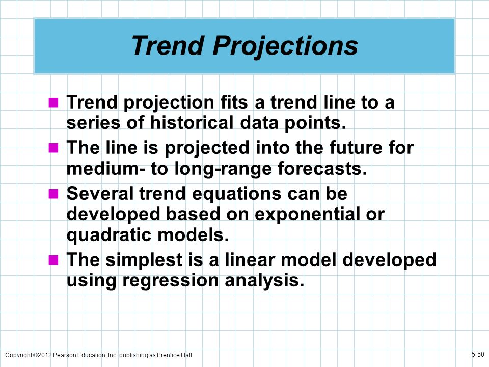 Copyright ©2012 Pearson Education, Inc. publishing as Prentice Hall 5-50 Trend Projections Trend projection fits a trend line to a series of historica