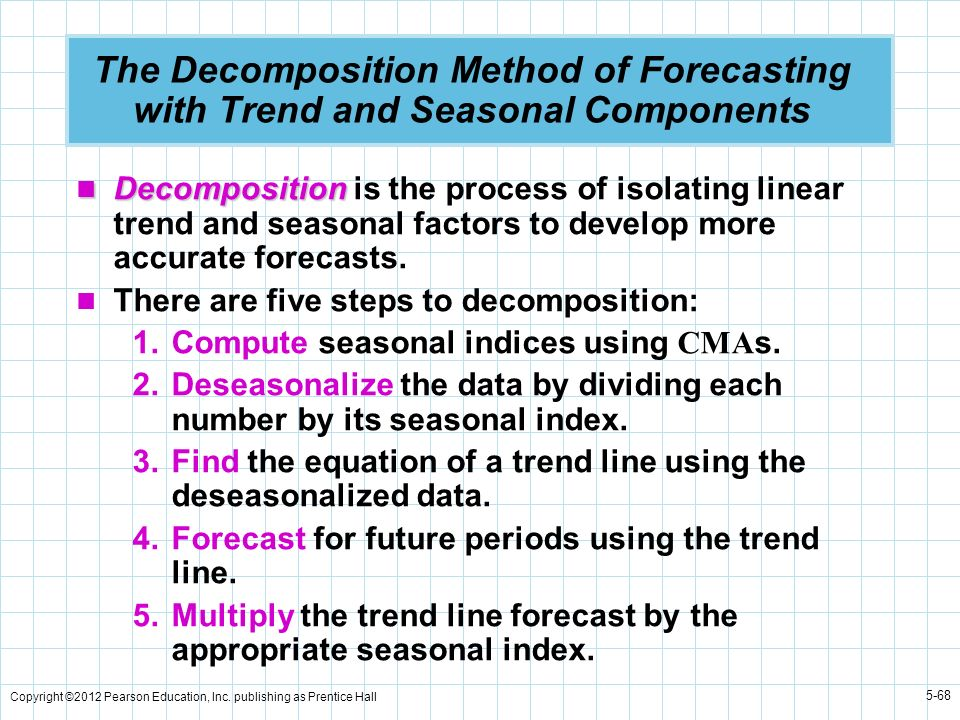 Copyright ©2012 Pearson Education, Inc. publishing as Prentice Hall 5-68 The Decomposition Method of Forecasting with Trend and Seasonal Components De