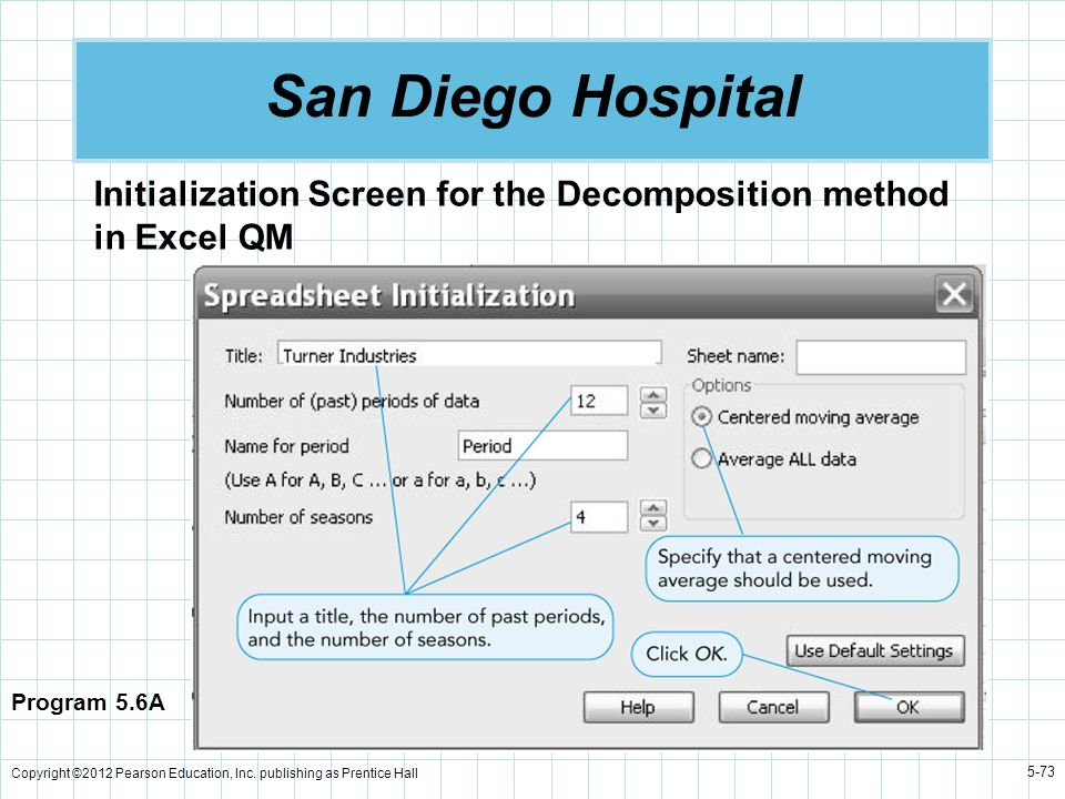 Copyright ©2012 Pearson Education, Inc. publishing as Prentice Hall 5-73 San Diego Hospital Program 5.6A Initialization Screen for the Decomposition m