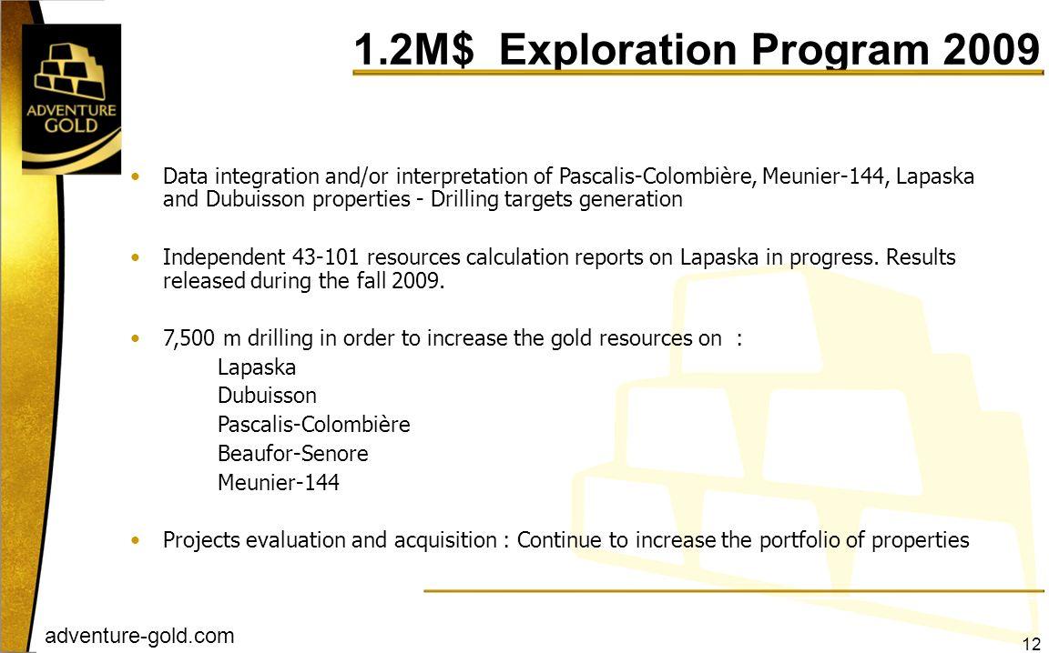 adventure-gold.com Data integration and/or interpretation of Pascalis-Colombière, Meunier-144, Lapaska and Dubuisson properties - Drilling targets gen