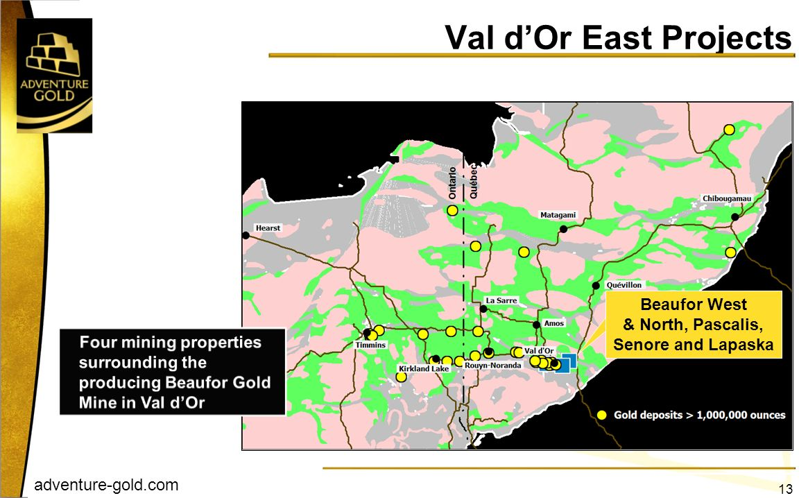 adventure-gold.com Beaufor West & North, Pascalis, Senore and Lapaska Val dOr East Projects 13