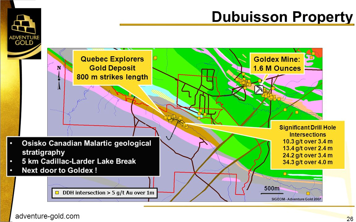 adventure-gold.com 26 Goldex Mine: 1.6 M Ounces 500m SIGEOM - Adventure Gold 2007 Dubuisson Property DDH intersection > 5 g/t Au over 1m Significant D