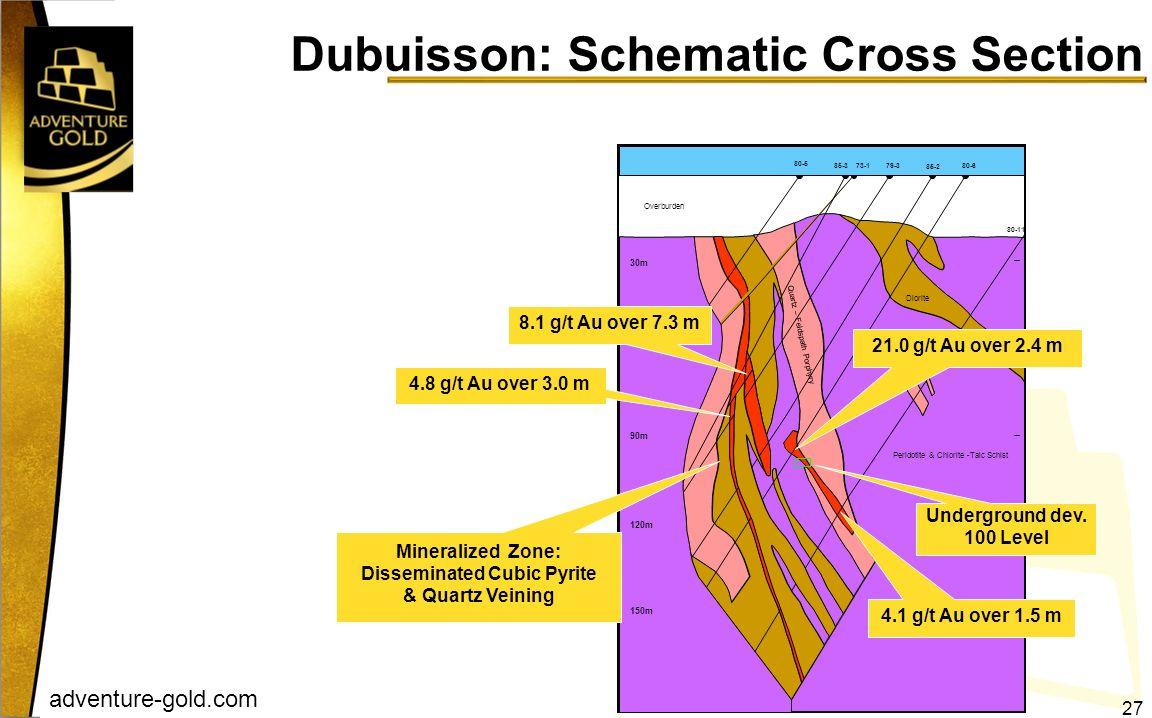 adventure-gold.com Dubuisson: Schematic Cross Section 60m Quartz – Feldspath Porphyry 150m 120m 90m 30m 85-3 80-5 85-2 79-3 73-1 80-11 80-6 Peridotite