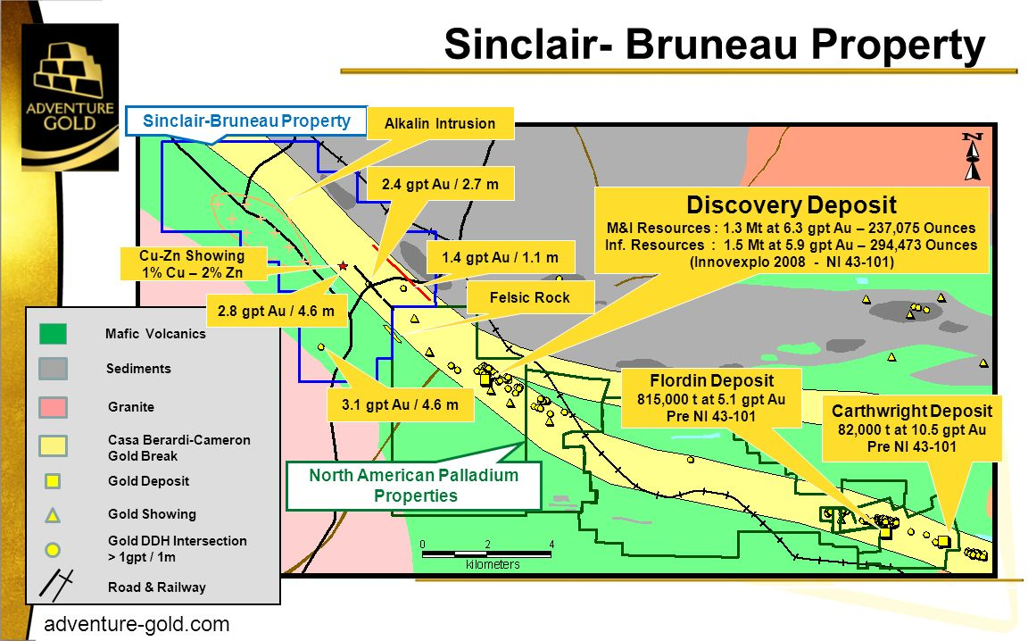 adventure-gold.com Sinclair- Bruneau Property Discovery Deposit M&I Resources : 1.3 Mt at 6.3 gpt Au – 237,075 Ounces Inf. Resources : 1.5 Mt at 5.9 g