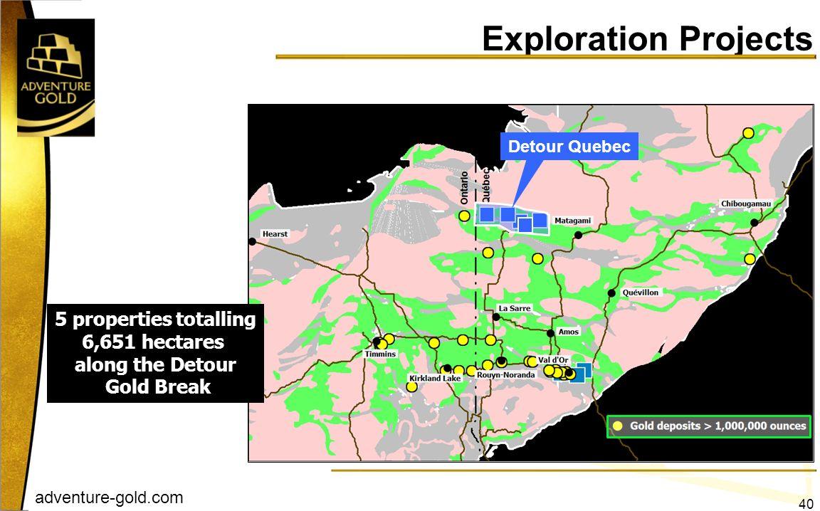 adventure-gold.com Exploration Projects 40 Detour Quebec 5 properties totalling 6,651 hectares along the Detour Gold Break