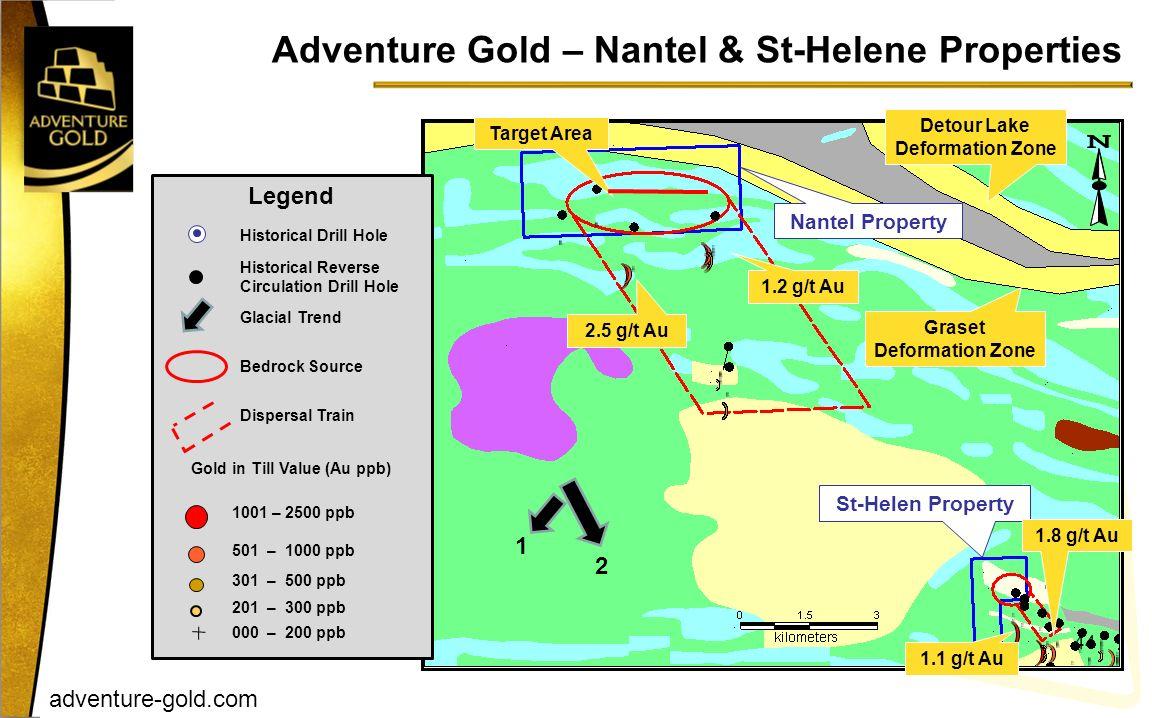 adventure-gold.com Adventure Gold – Nantel & St-Helene Properties 44 Nantel Property St-Helen Property Target Area 1.1 g/t Au Graset Deformation Zone