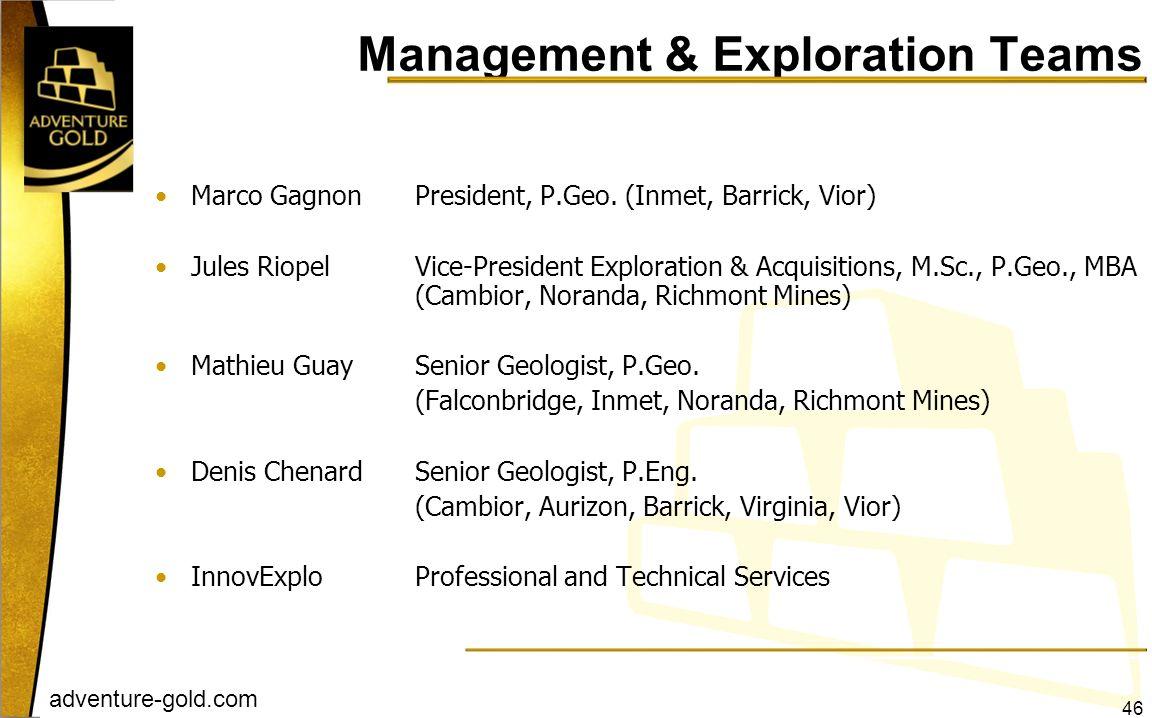 adventure-gold.com Management & Exploration Teams Marco GagnonPresident, P.Geo. (Inmet, Barrick, Vior) Jules RiopelVice-President Exploration & Acquis