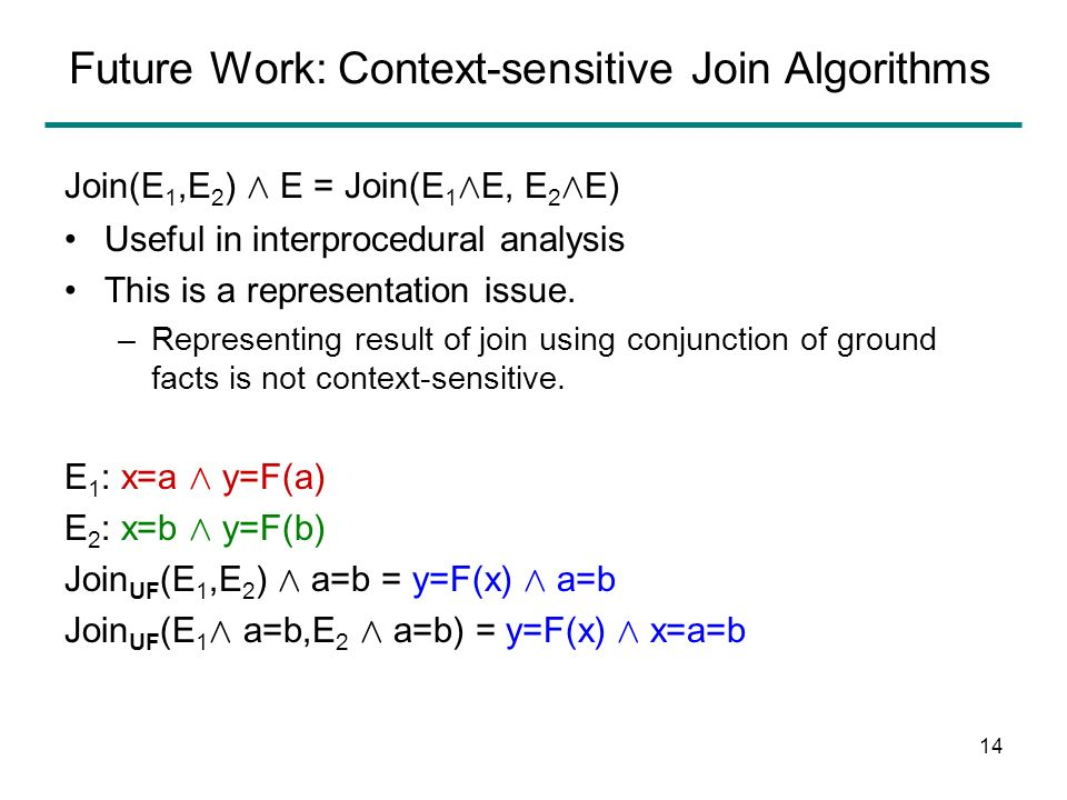 13 Future Work: Combining Join Algorithms For example, theory of linear arithmetic and uninterpreted functions (LA+UF) E 1 : x=a Æ y=b E 2 : x=b Æ y=a Join UF (E 1,E 2 ) = true Join LA (E 1,E 2 ) = x+y=a+b Join LA+UF (E 1,E 2 ) = F(x+c)+F(y+c) = F(a+c)+F(b+c) Æ.….