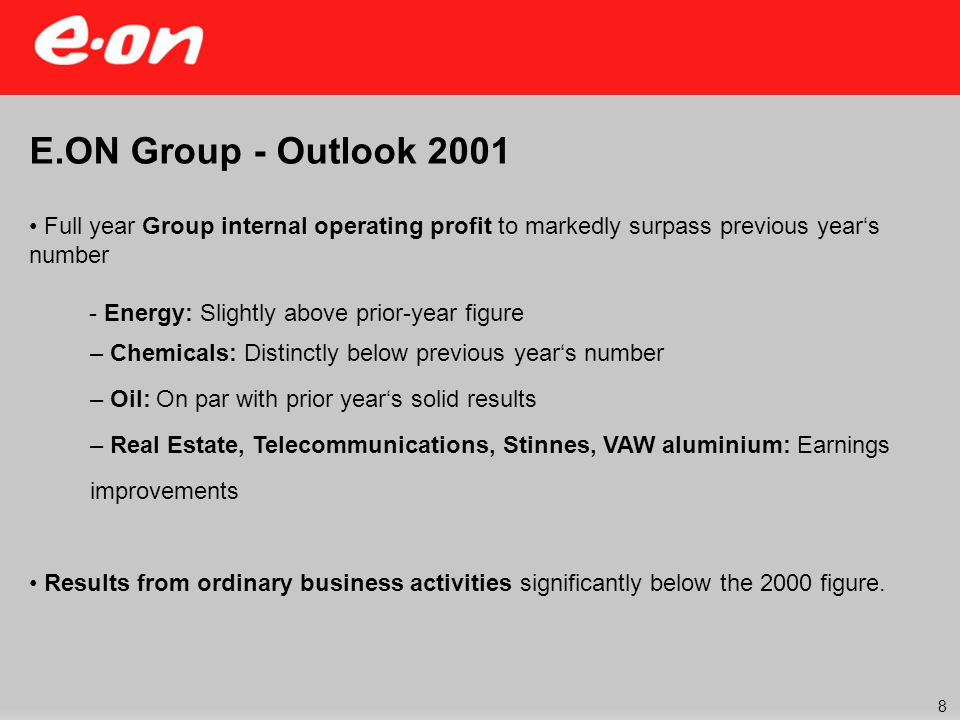 E.ON Group - Outlook 2001 Full year Group internal operating profit to markedly surpass previous years number - Energy: Slightly above prior-year figure – Chemicals: Distinctly below previous years number – Oil: On par with prior years solid results – Real Estate, Telecommunications, Stinnes, VAW aluminium: Earnings improvements Results from ordinary business activities significantly below the 2000 figure.