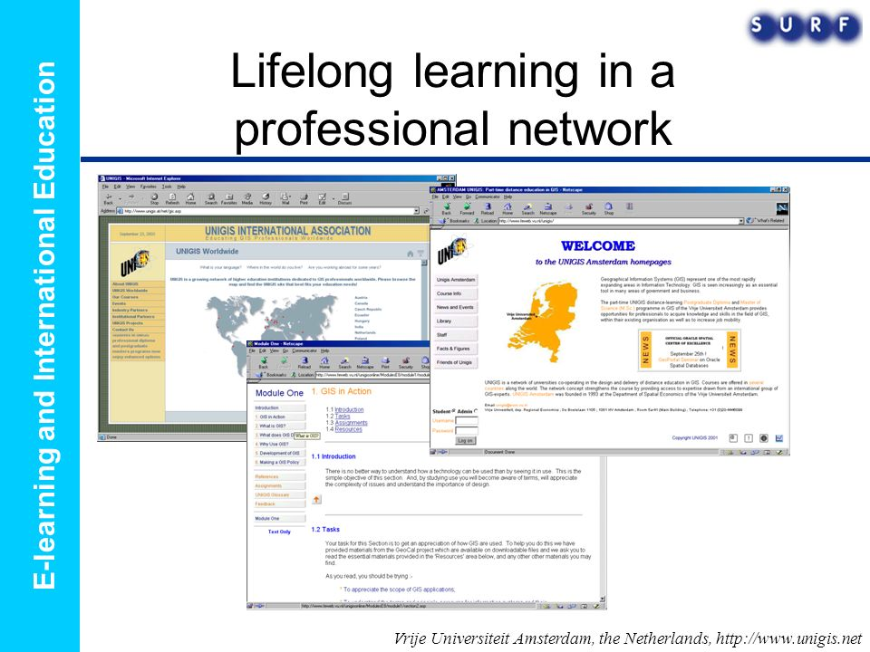 E-learning and International Education Lifelong learning in a professional network Vrije Universiteit Amsterdam, the Netherlands, http://www.unigis.net