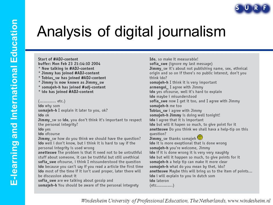 E-learning and International Education Analysis of digital journalism Windesheim University of Professional Education, The Netherlands, www.windesheim.nl