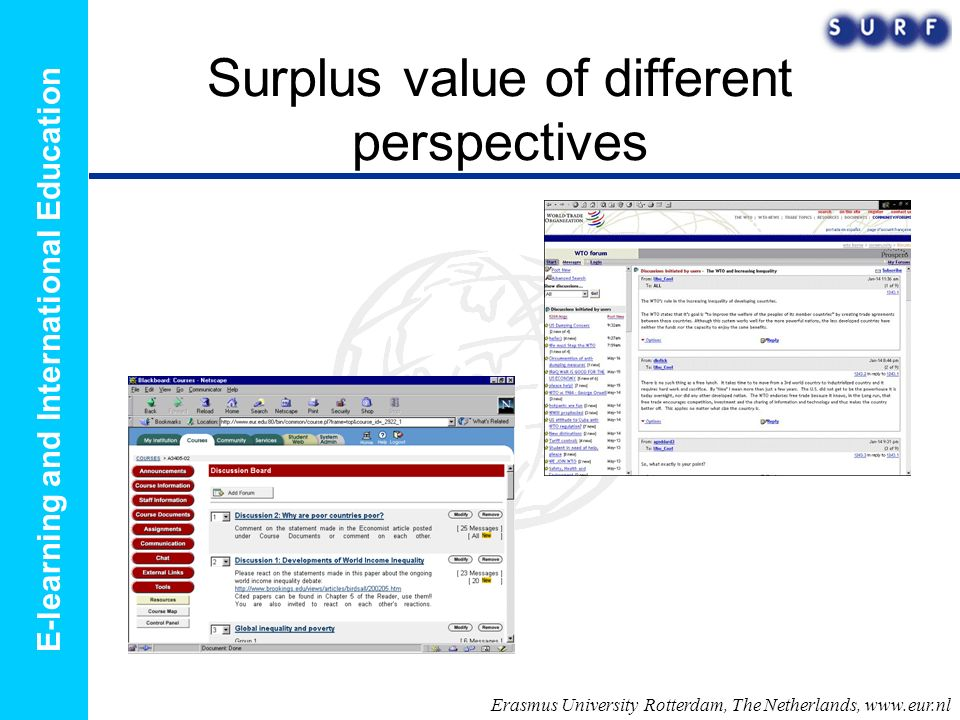 E-learning and International Education Surplus value of different perspectives Erasmus University Rotterdam, The Netherlands,