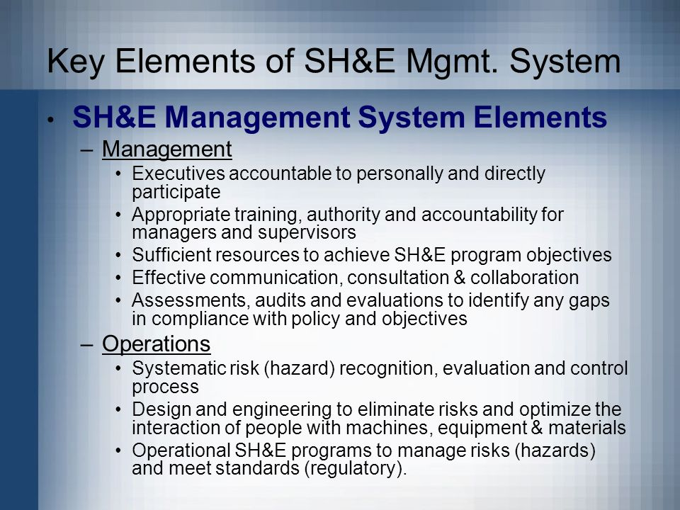 Key Elements of SH&E Mgmt.