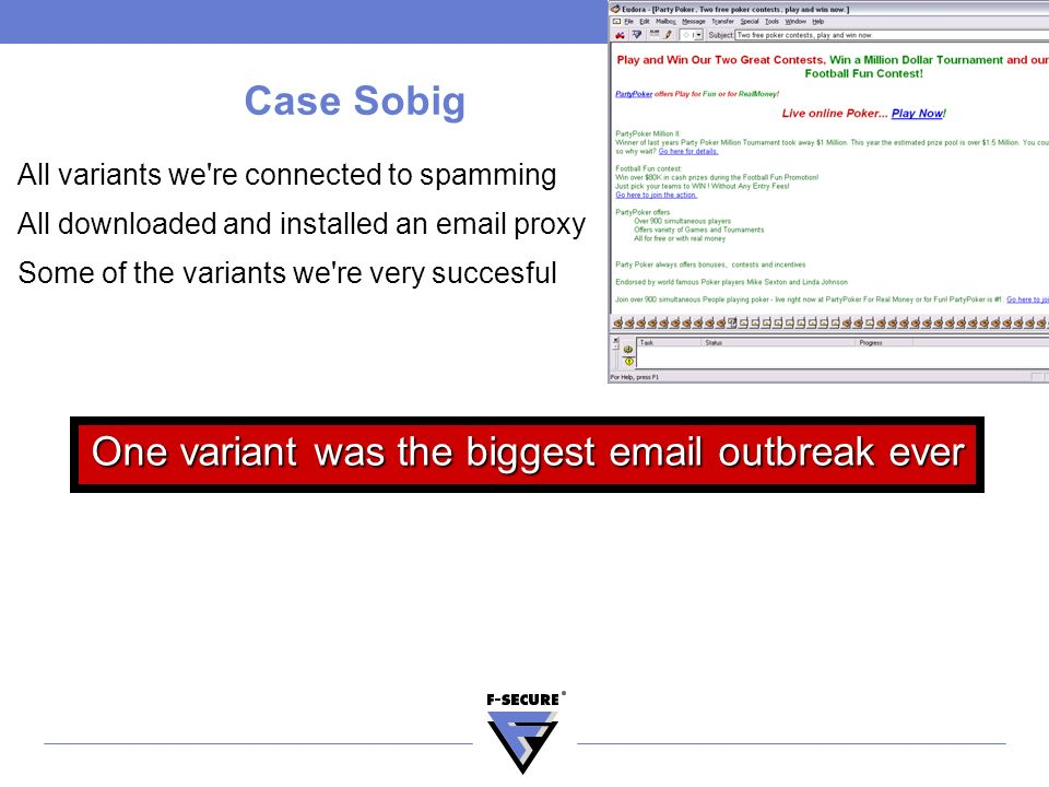 Case Sobig All variants we re connected to spamming All downloaded and installed an email proxy Some of the variants we re very succesful One variant was the biggest email outbreak ever