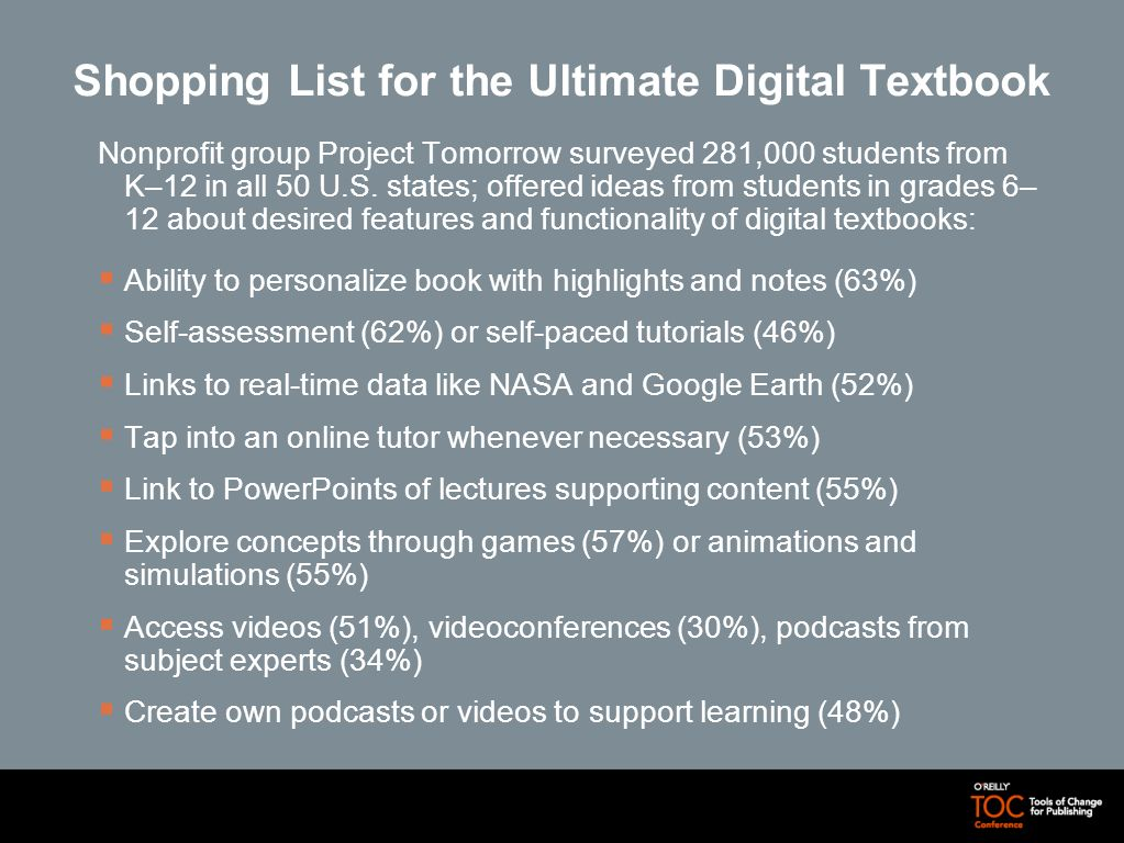 Shopping List for the Ultimate Digital Textbook Nonprofit group Project Tomorrow surveyed 281,000 students from K–12 in all 50 U.S. states; offered id
