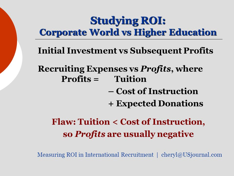 Studying ROI: Corporate World vs Higher Education Initial Investment vs Subsequent Profits Recruiting Expenses vs Profits, where Profits = Tuition – C
