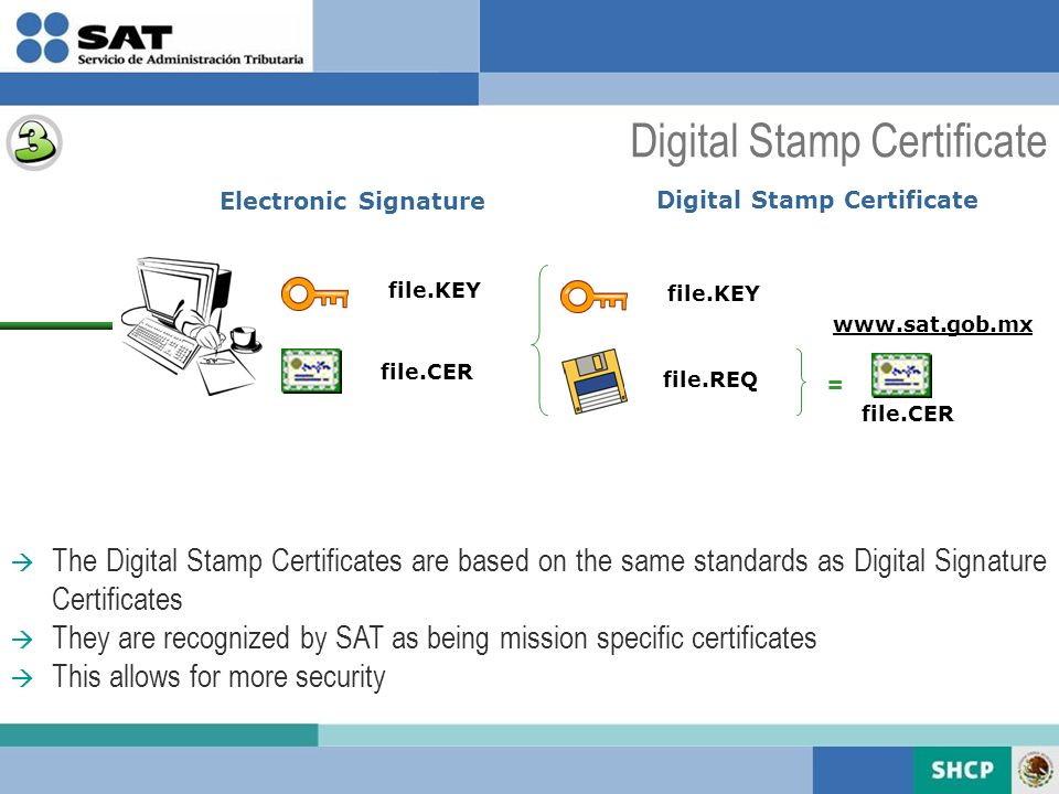 The Digital Stamp Certificates are based on the same standards as Digital Signature Certificates They are recognized by SAT as being mission specific certificates This allows for more security file.KEY file.REQ = file.CER www.sat.gob.mx Electronic Signature file.KEY file.CER Digital Stamp Certificate
