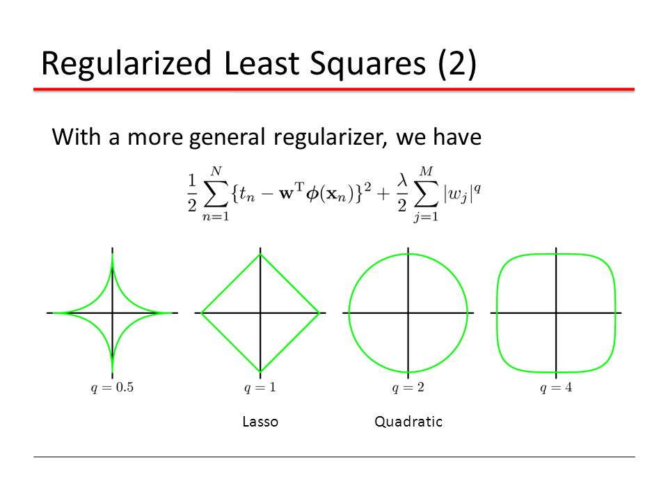 Regularized Least Squares (2) With a more general regularizer, we have LassoQuadratic