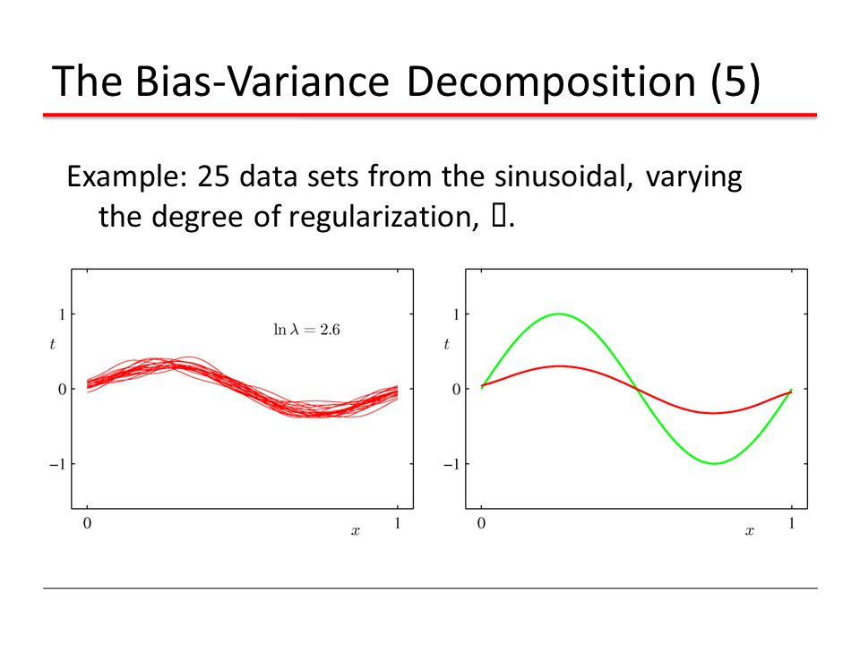 The Bias-Variance Decomposition (5) Example: 25 data sets from the sinusoidal, varying the degree of regularization, ¸.