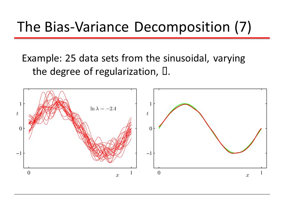 The Bias-Variance Decomposition (7) Example: 25 data sets from the sinusoidal, varying the degree of regularization, ¸.