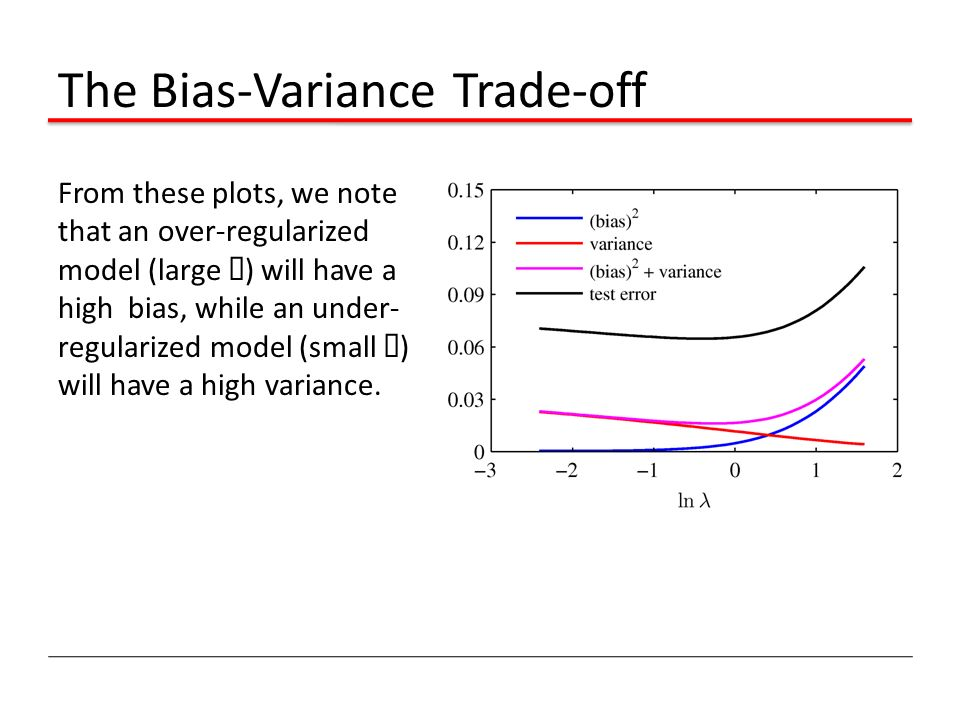 The Bias-Variance Trade-off From these plots, we note that an over-regularized model (large ¸ ) will have a high bias, while an under- regularized mod