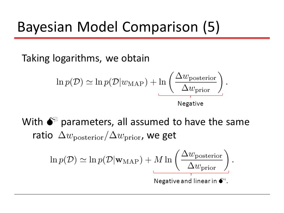 Bayesian Model Comparison (5) Taking logarithms, we obtain With M parameters, all assumed to have the same ratio, we get Negative Negative and linear