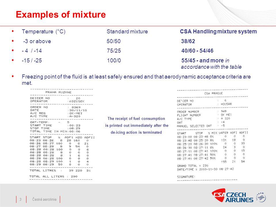 České aerolinie3 Examples of mixture Temperature (°C) Standard mixture CSA Handling mixture system -3 or above 50/50 38/62 - 4 / -14 75/25 40/60 - 54/