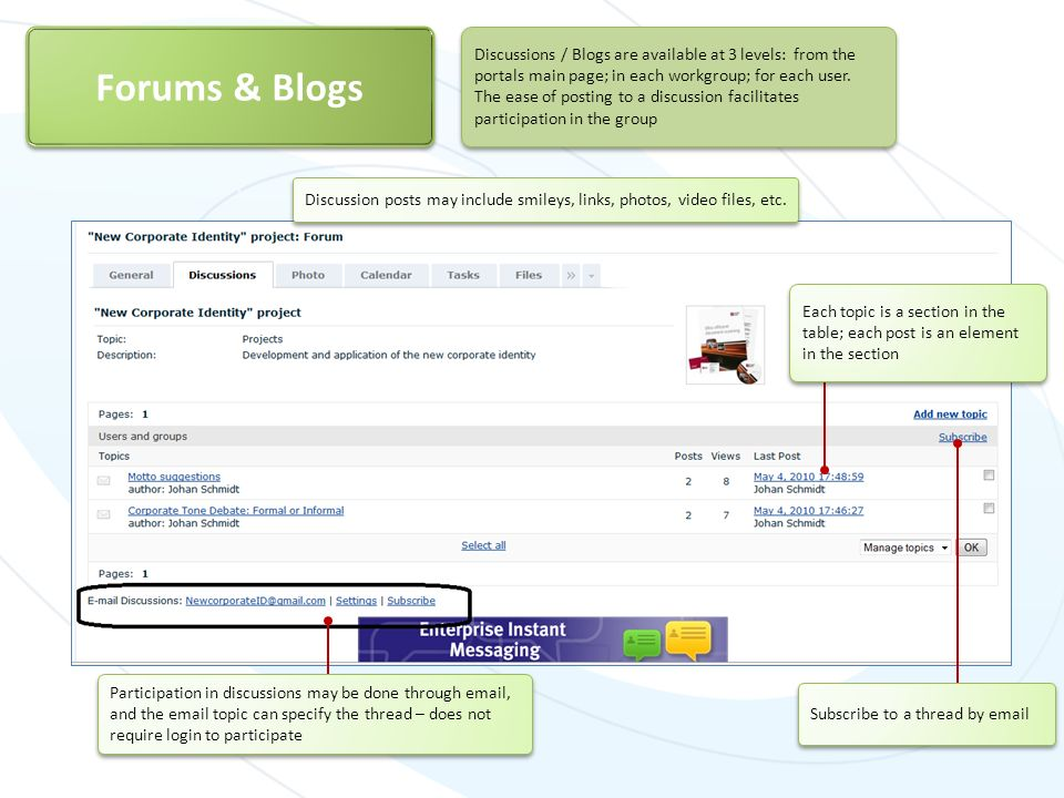 Discussions / Blogs are available at 3 levels: from the portals main page; in each workgroup; for each user. The ease of posting to a discussion facil