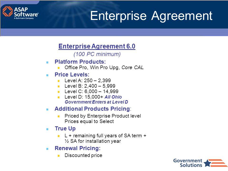 Enterprise Agreement 6.0 (100 PC minimum) Platform Products: Office Pro, Win Pro Upg, Core CAL Price Levels: Level A: 250 – 2,399 Level B: 2,400 – 5,9