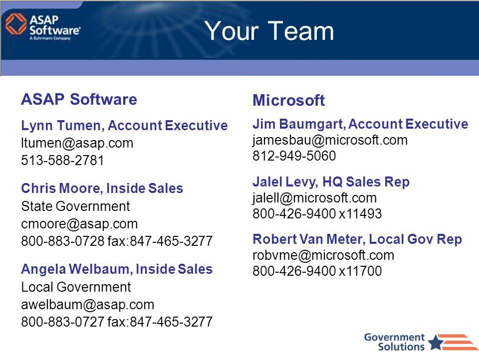 Your Team ASAP Software Lynn Tumen, Account Executive ltumen@asap.com 513-588-2781 Chris Moore, Inside Sales State Government cmoore@asap.com 800-883-