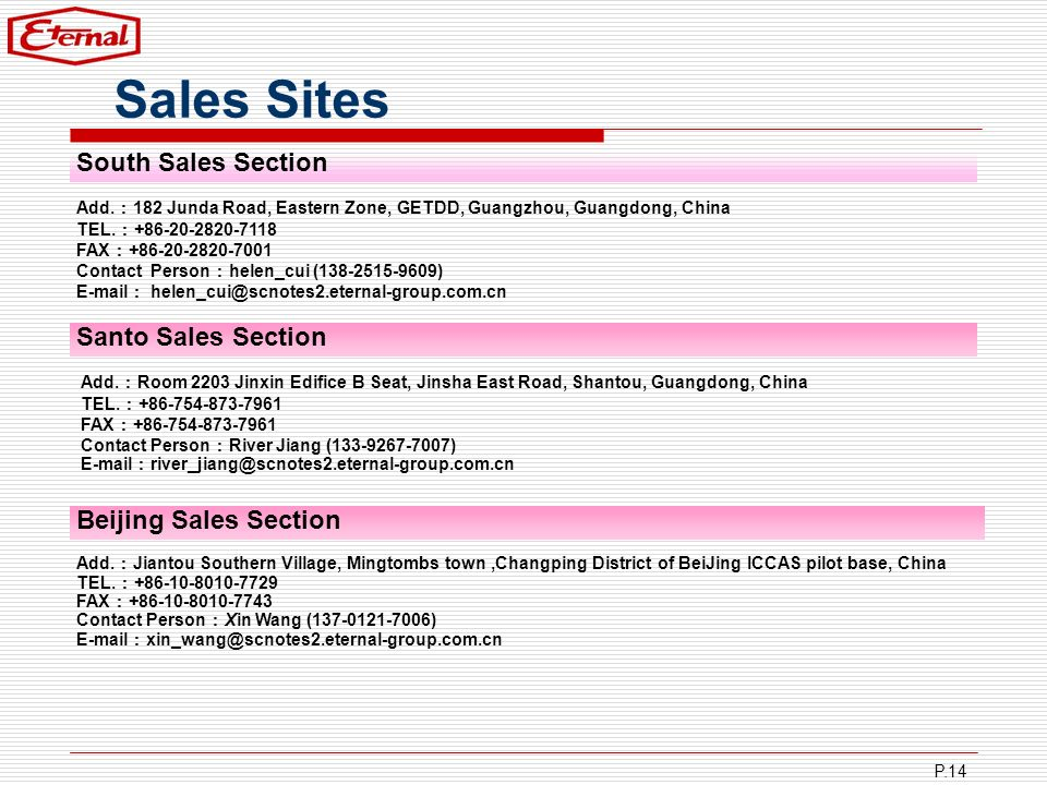 P.14 Sales Sites Add. 182 Junda Road, Eastern Zone, GETDD, Guangzhou, Guangdong, China TEL. +86-20-2820-7118 FAX +86-20-2820-7001 Contact Person helen