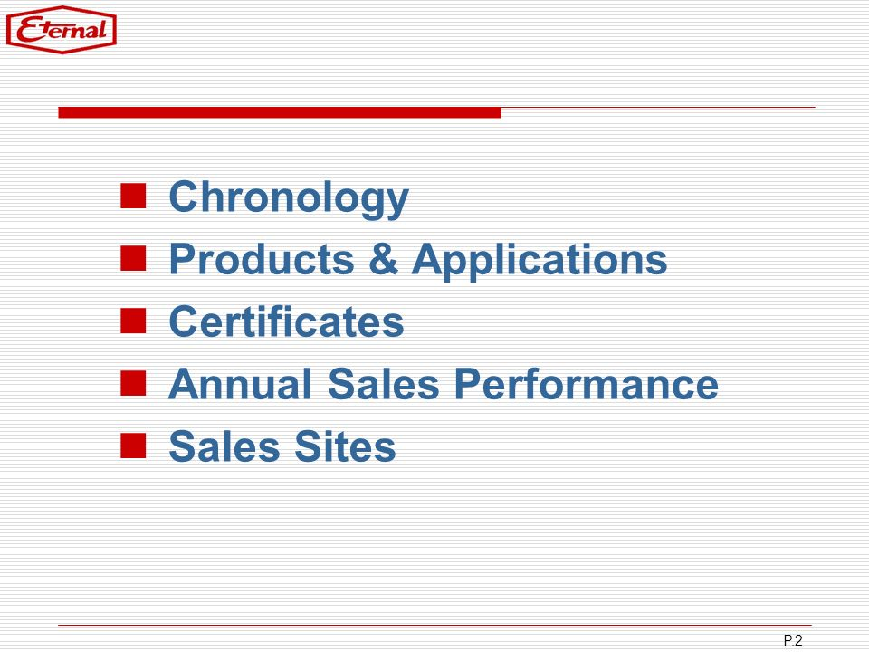 P.2 Chronology Products & Applications Certificates Annual Sales Performance Sales Sites