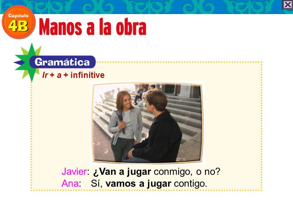Ir + a + infinitive Javier: ¿Van a jugar conmigo, o no Ana: Sí, vamos a jugar contigo.